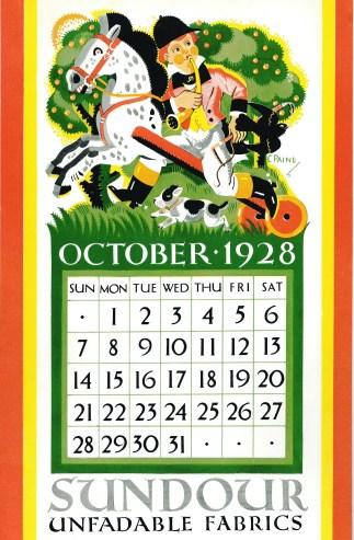 Sundour Calendar October 1928 1