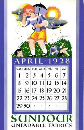 Sundour Calendar April 1928 1