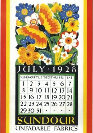 Sundour Calendar July 1928 1