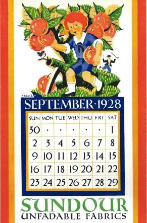 Sundour Calendar September 1928 1