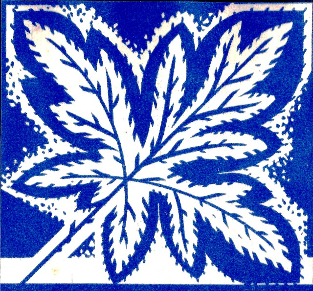 7 Maple Leaf Canada design blue and white Sundour