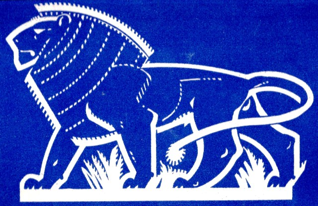 8 Lion Kenya stylised blue and white Sundour
