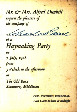 5 RSVP invitation to Dunhill haymaking party 1928 - Paine