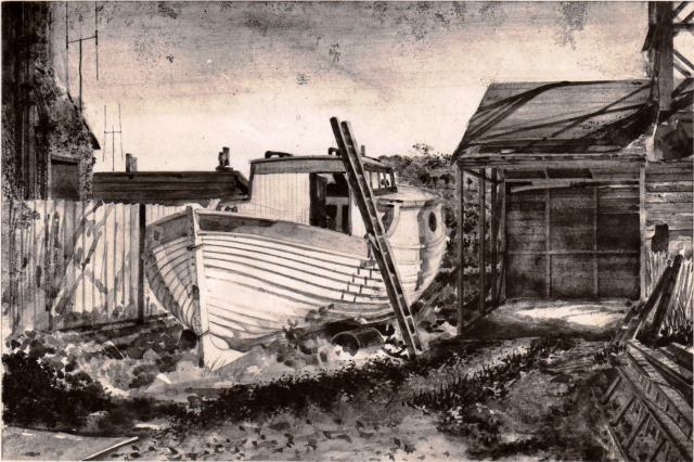 Boat yard Watercolour Jersey 1950's.