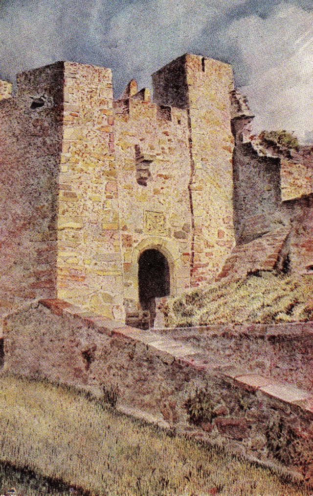 Jersey post card series Paine Queen Elizabeth Gate, Mt. Orgeuil Castle