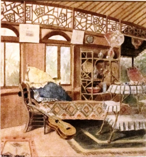 'Allen Herbert's House', 1896 watercolor by Isobel Osbourne, Honolulu Academy of Arts