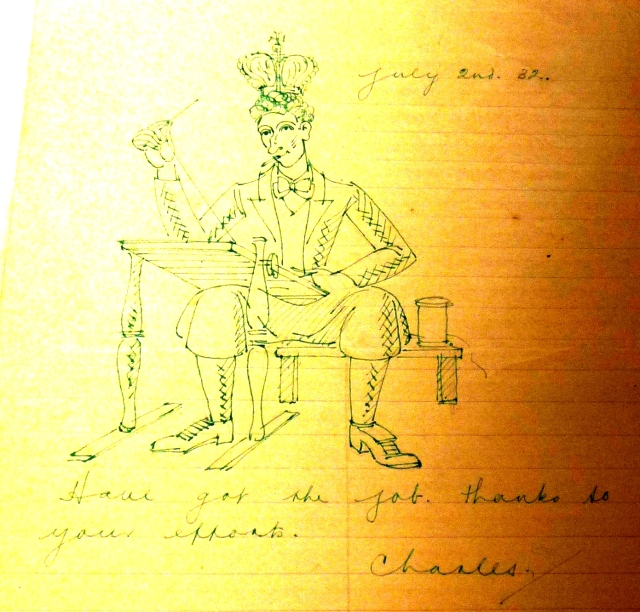 Charles Paine cartoon thanks for Royal College of Needlework job