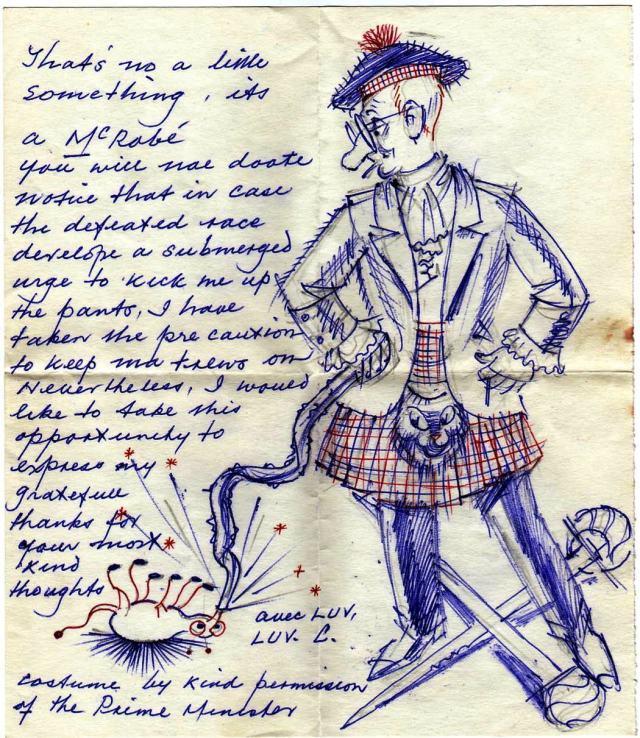 CP as Scotsman cartoon - thank you note to Mac